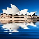 Sydney Opera house with reflection in harbour by Sheila  Smart