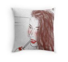 Lipstick girl Throw Pillow