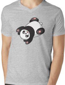 Cute Funny Jumping Cartoon Panda Mens V-Neck T-Shirt