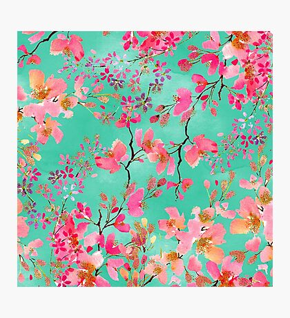 Elegant hand paint watercolor spring floral  Photographic Print