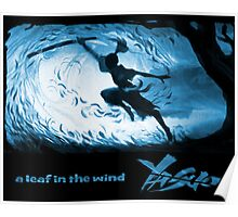 Wind and leaf - in blue Poster