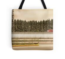 Red Steel Blue Denim Tote Bag