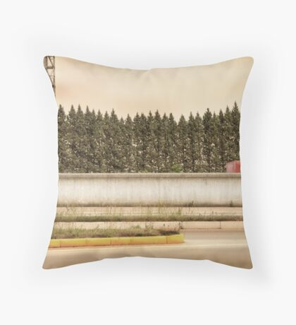Red Steel Blue Denim Throw Pillow