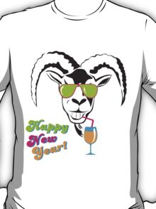 Funny goat head in glasses  T-Shirt