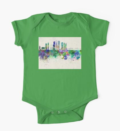 Tokyo V3 skyline in watercolor background One Piece - Short Sleeve