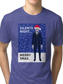 Doctor Who Silents Xmas Card Tri-blend T-Shirt