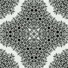 Black Snowflake Kaleidoscope Print by red addiction