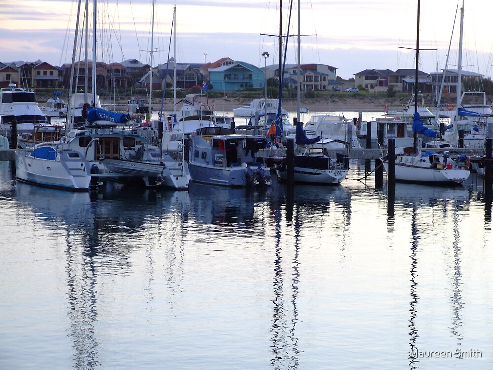 Yachts at anchor in Bunbury Harbour by Maureen Smith