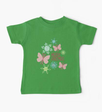 Merry Knitmas butterfly knitting needles yarn snowflakes Baby Tee