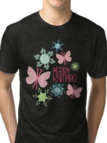 Merry Knitmas butterfly knitting needles yarn snowflakes Tri-blend T-Shirt