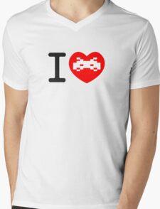 I Love Space Invaders Mens V-Neck T-Shirt