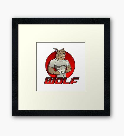 Cartoon werewolf on the red  Framed Print