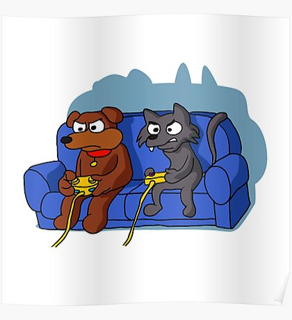 cat and dog playing videogame at home Poster