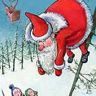Santa haning on the tree. Christmas Card and more. by Kimazo