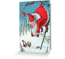 Santa haning on the tree. Christmas Card and more. Greeting Card