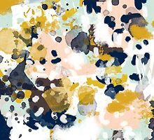 Sloane - Abstract painting in free style navy, mint, gold, white, and turquoise  by charlottewinter