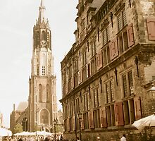 "Old Town Delft: Market Square, City Hall, ""New Church"" by Clive  Cashman"