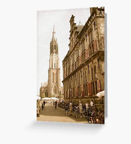 "Old Town Delft: Market Square, City Hall, ""New Church"" Greeting Card"