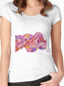 Pinkish Lines Collage Women's Fitted Scoop T-Shirt