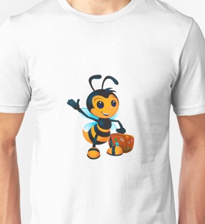 Cute cartoon bee with suitcase Unisex T-Shirt
