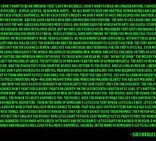 Charlie Chaplin - The Great Dictator Speech Green by Nicholas  Thompson