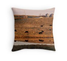 Cows reflection Throw Pillow