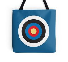BULLS EYE, Right on target, small, on Blue Tote Bag