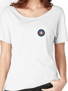 BULLS EYE, SMALL, Target, Archery, Right on target, Navy, Blue Women's Relaxed Fit T-Shirt