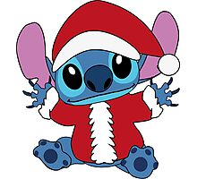 Cute christmas Stitch in Santa costume Photographic Print