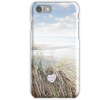lonely blue wooden heart on beach dunes iPhone Case/Skin