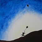 Girl Running with Balloons by Pamela Burger