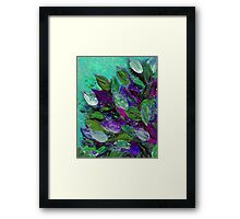 BLOOMING BEAUTIFUL Mint Green Purple Elegant Floral Abstract Leaves Garden Whimsical Textural Colorful Acrylic Flowers Painting Framed Print
