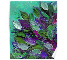BLOOMING BEAUTIFUL Mint Green Purple Elegant Floral Abstract Leaves Garden Whimsical Textural Colorful Acrylic Flowers Painting Poster