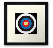Bulls Eye, Right on Target, Roundel, Archery, Pop, Mod, on BLACK Framed Print