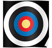 Bulls Eye, Right on Target, Roundel, Archery, Pop, Mod, on BLACK Poster