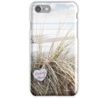 lonely wooden heart on beach dunes iPhone Case/Skin