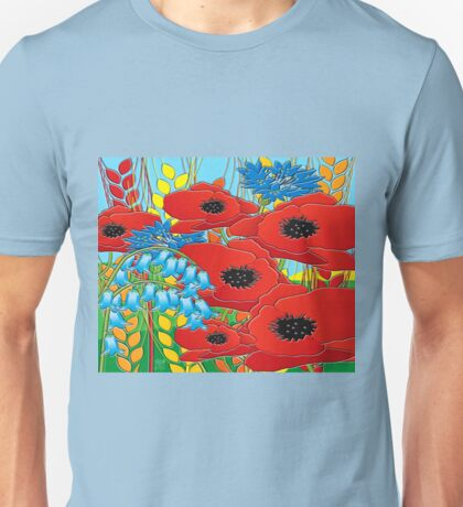CORNFLOWER POPPIES BLUEBELLS Unisex T-Shirt