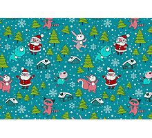Christmas Forest Animals and Santa Pattern. Merry Christmas! Photographic Print