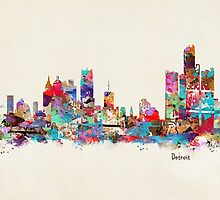detroit skyline watercolor by bri-b