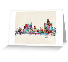 detroit skyline watercolor Greeting Card