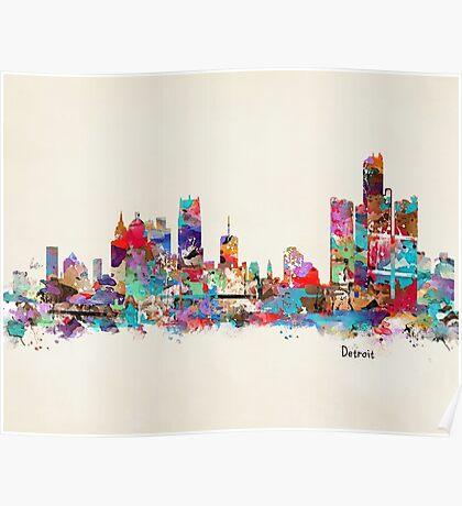 detroit skyline watercolor Poster