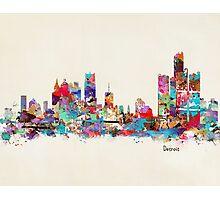 detroit skyline watercolor Photographic Print