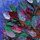 BLOOMING BEAUTIFUL 3 Rich Deep Blue Magenta Fuchsia Pink Red Green Floral Abstract Textural Impasto Flowers Acrylic Painting Nature Garden by EbiEmporium