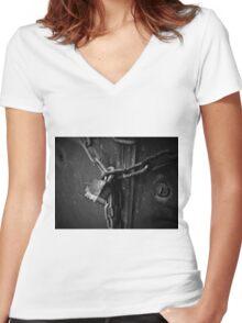 Locked Away Women's Fitted V-Neck T-Shirt