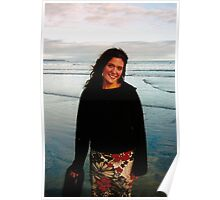 Young Woman on a Beach (Long Beach, Vancouver Island, British Columbia, Canada, July 2004) Poster