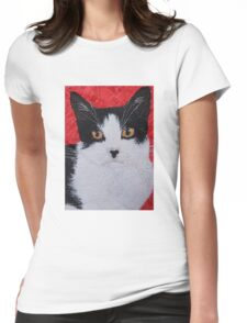 Black and White tuxedo domestic short hair cat textile art portrait Womens Fitted T-Shirt