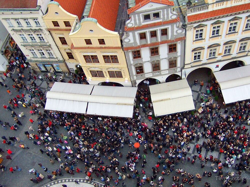 Prague - Crowd waiting for clock to strike noon by Terri Foster