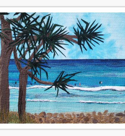 """Something About The Pandanus"" beach scene seascape textile art Sticker"