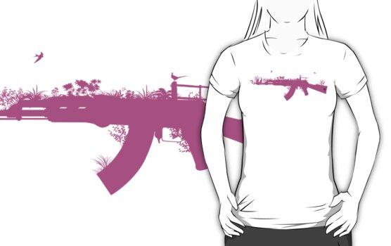 Ak47 Love & Peace (girl) by Plastica Tees
