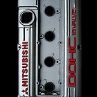 4g63 MITSUBISHI Valve Cover -IPHONE -SILVER/RED by Hector Flores